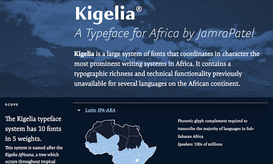 JamraPatel's microsite for the Kigelia typeface family