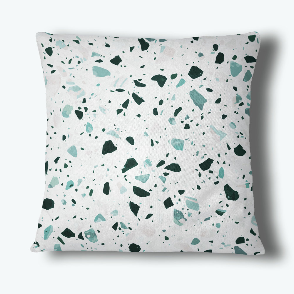 Terrazzo Throw Pillow, Teal