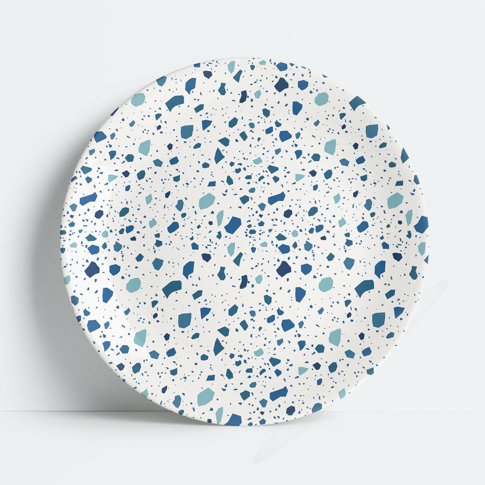 Terrazzo Melamine Dinner Plate, Blue