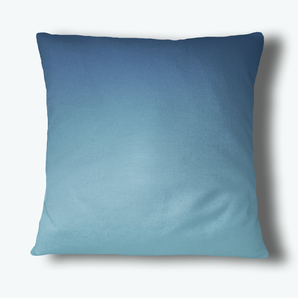 Fade Out Throw Pillow, Blue