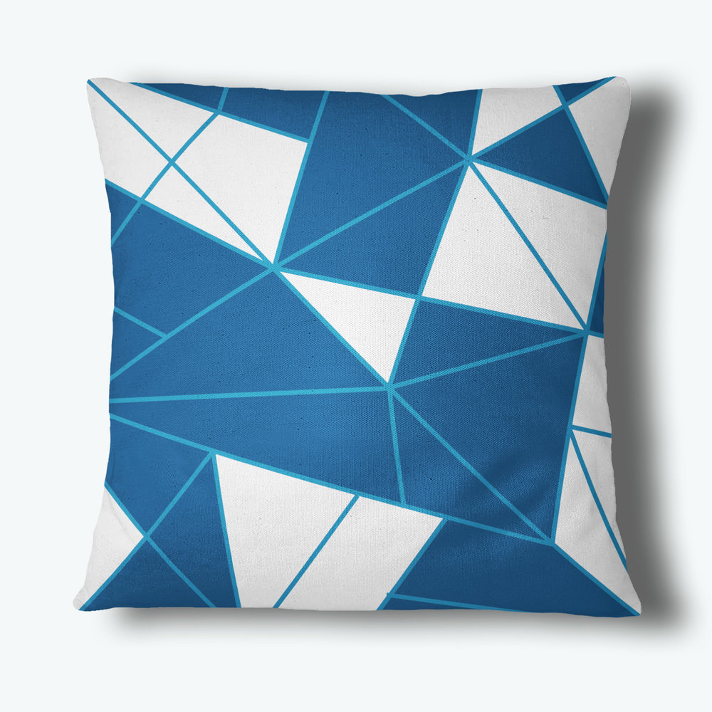 Refraction Throw Pillow, Blue