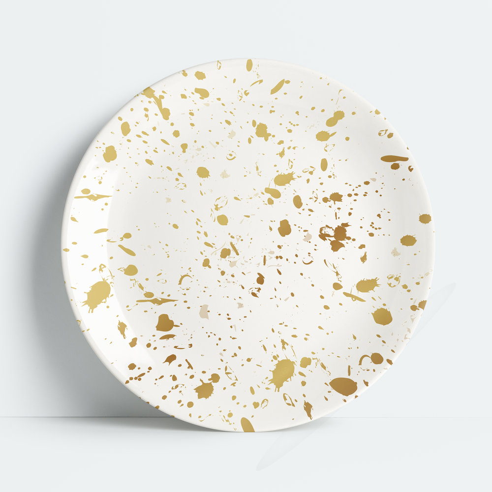 Gold Splatter Melamine Dinner Plate