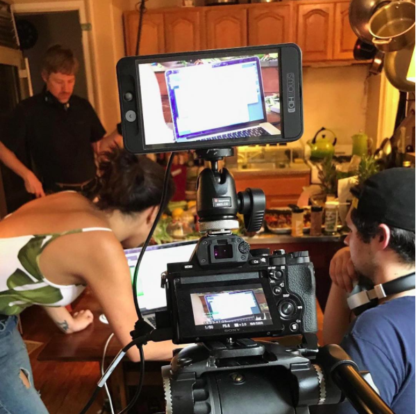 On set of Cooking Up a Vlog