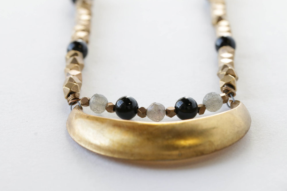 Brass Crescent Necklace with Labradorite and Onyx