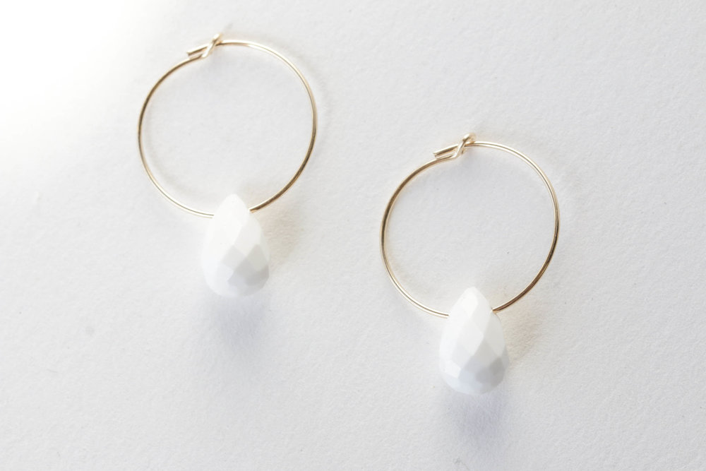 White Faceted Stone with Gold Hoop Earrings