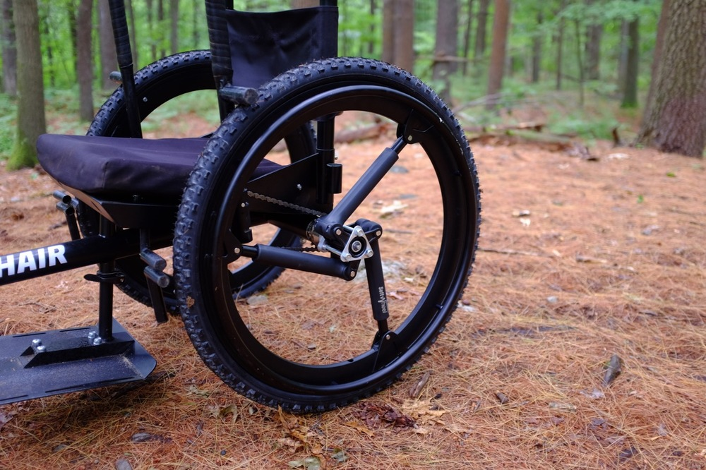 The GRIT Freedom Chair Forward, featuring SoftWheels in-wheel suspension. Push rims not included.