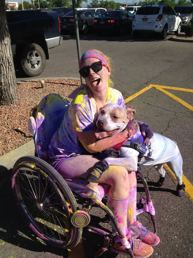 Me and my Service Dog, Cash, after doing the Color Vibe 5K, June 2015