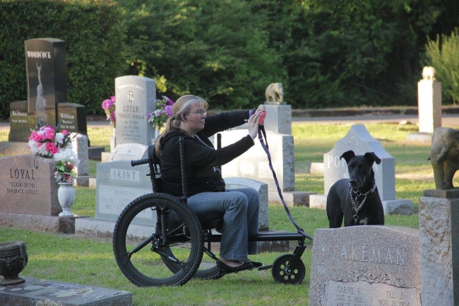 """""""Studying headstones at Showman's Rest in Hugo, OK. My [Freedom Chair] made it so much easier to navigate!"""""""