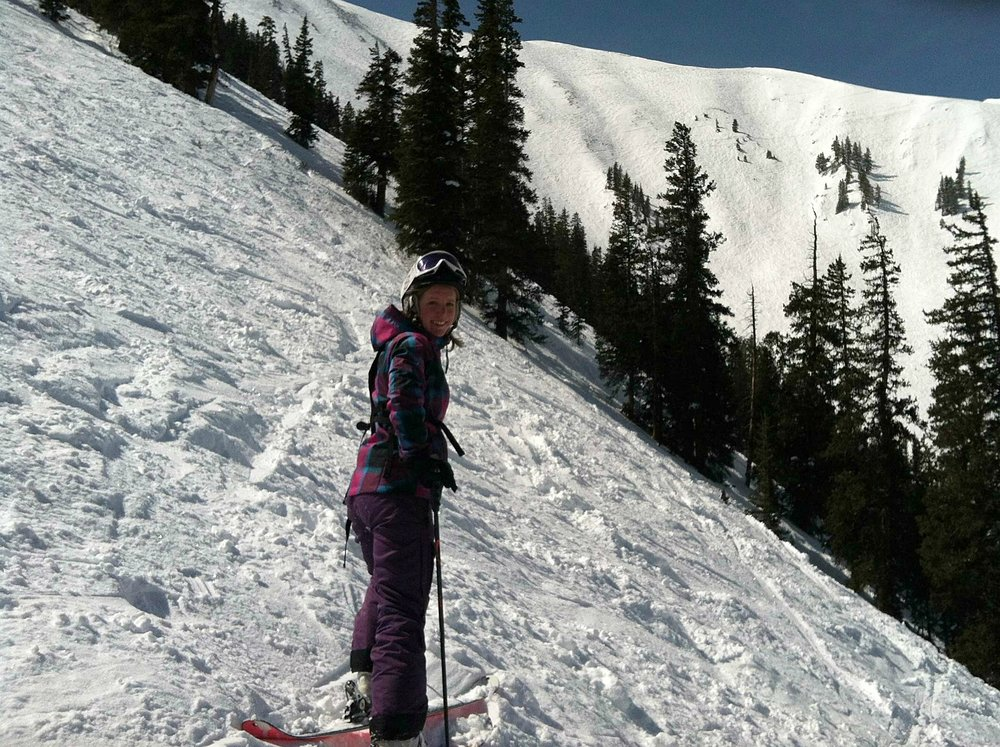 Skiing the Highlands Bowl in Aspen, Colorado in March 2013