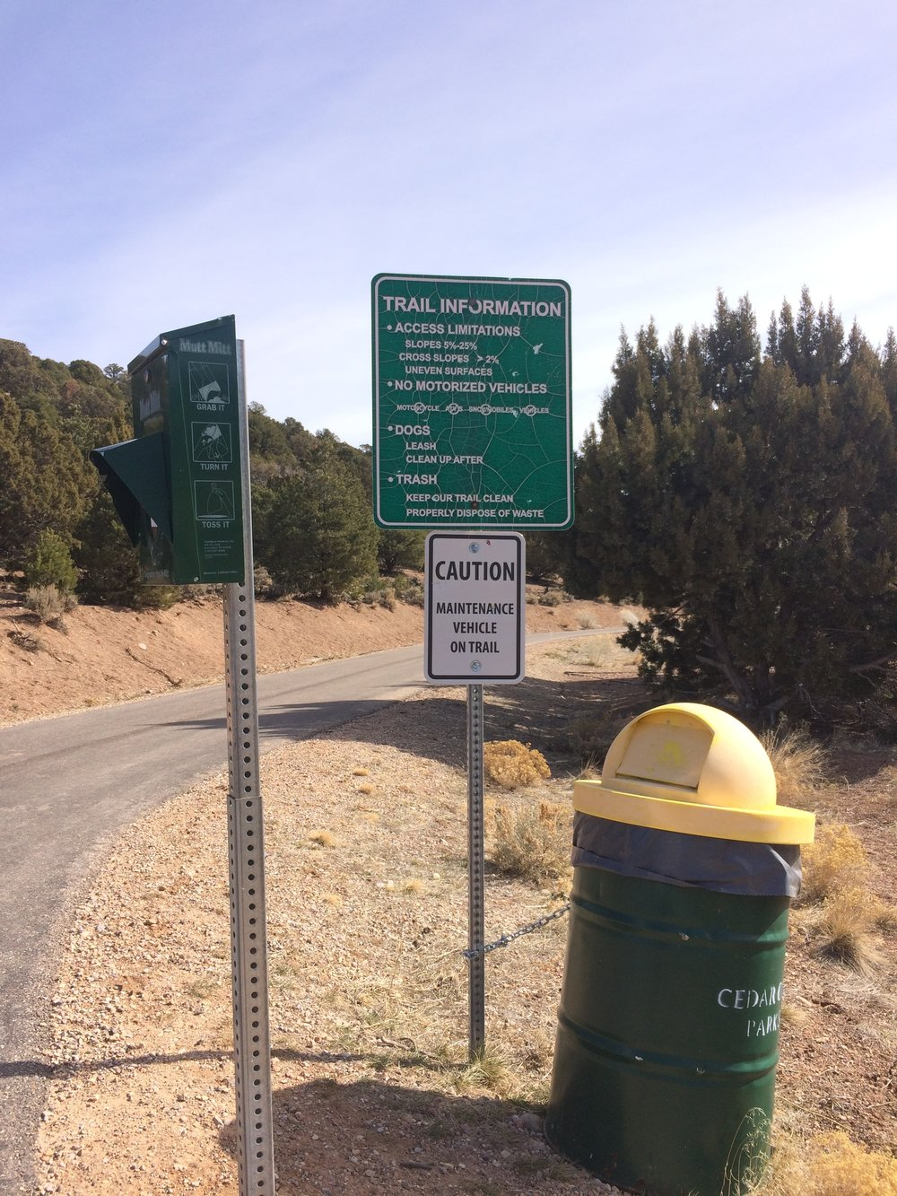 West Trail Head waste bag station