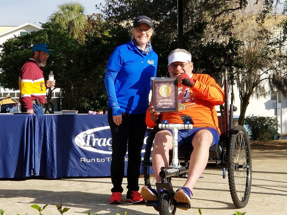 Jerry Goldsmith  lives in Florida and completed the Florida Hospital Winter Park 5K in January. He received 1st place in chair division and 4th place for men ages 75 -79.