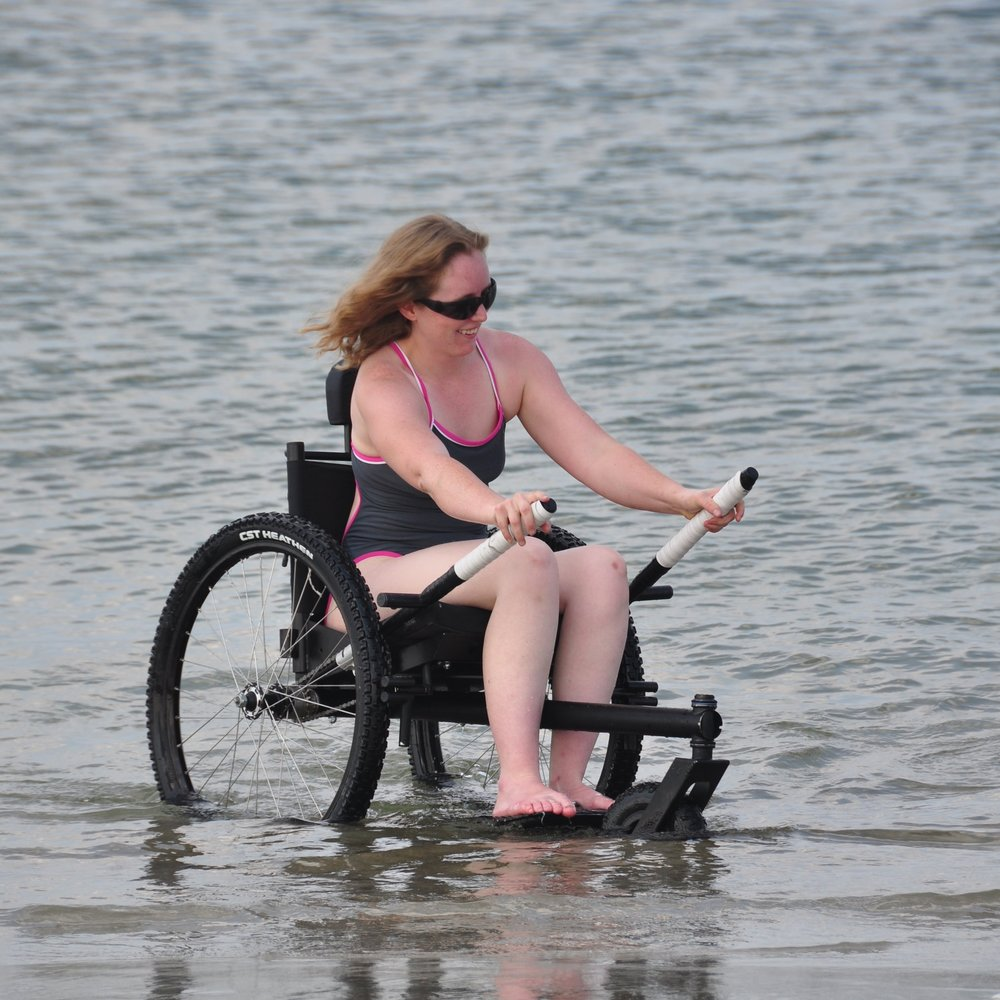 AUGUST:   Being the middle of Summer, August is the best time of the year to hit the water! Whether it's the beach or the lake, the Freedom Chair allows me to independently power through soft conditions, right down to where the action is. It feels so freeing to move around in the water in my Freedom Chair!