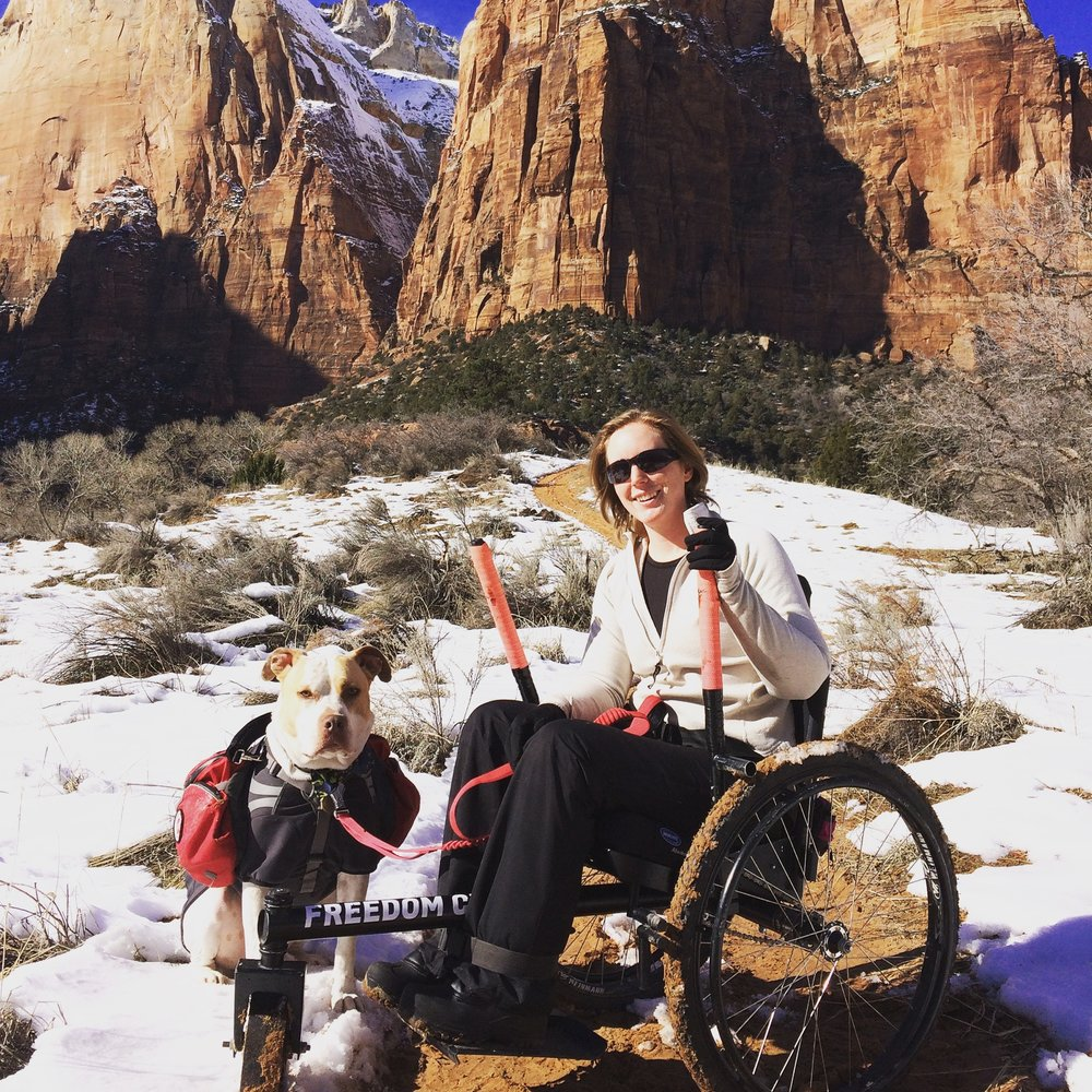 JANUARY:   Sometimes National Parks are better in the off season! The temperatures are cooler and the crowds are dramatically smaller. My boyfriend and I visited Zion National Park in January. Wheelchair hiking a section of the Court of the Patriarchs was challenging but fun. The harsh and limited sun the canyons get this time of year makes for some interesting trail conditions, but the Freedom Chair was trustworthy where we chose to take it.