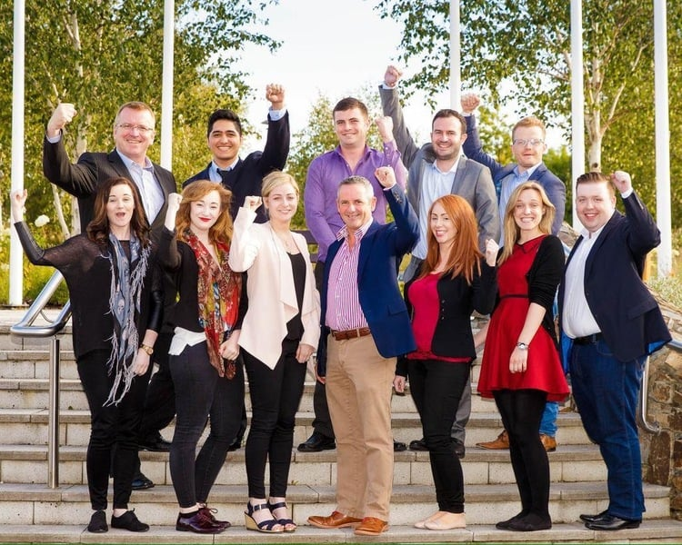 Mark Sheils, pictured (in grey)at IBYE Bootcamp 2015 in Druids Glen with Fingal Finalists and Paul Reid, Chief Executive of Fingal County Council.