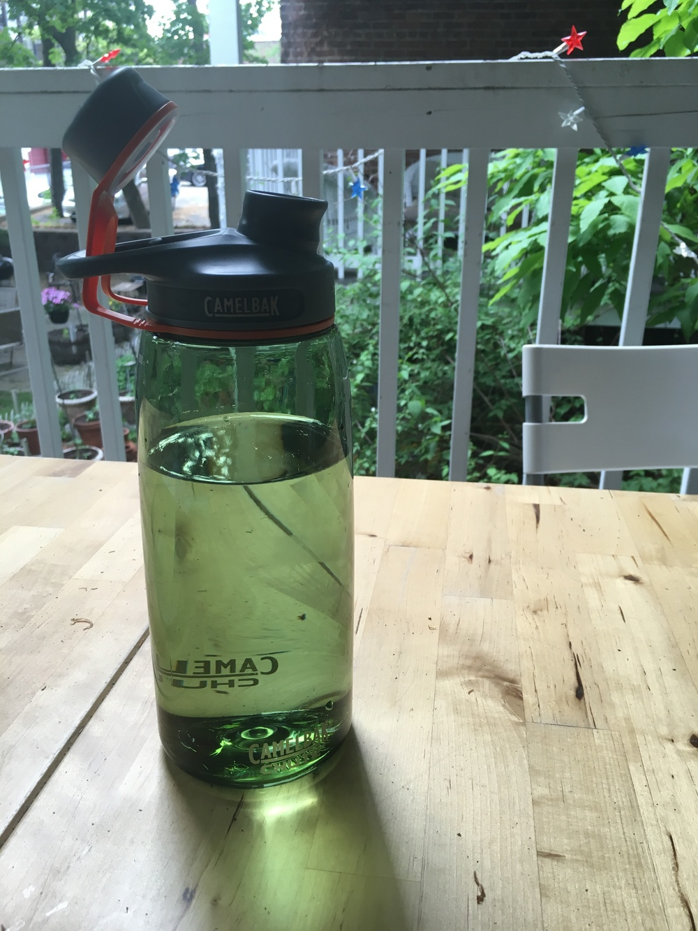 Water bottle on the porch