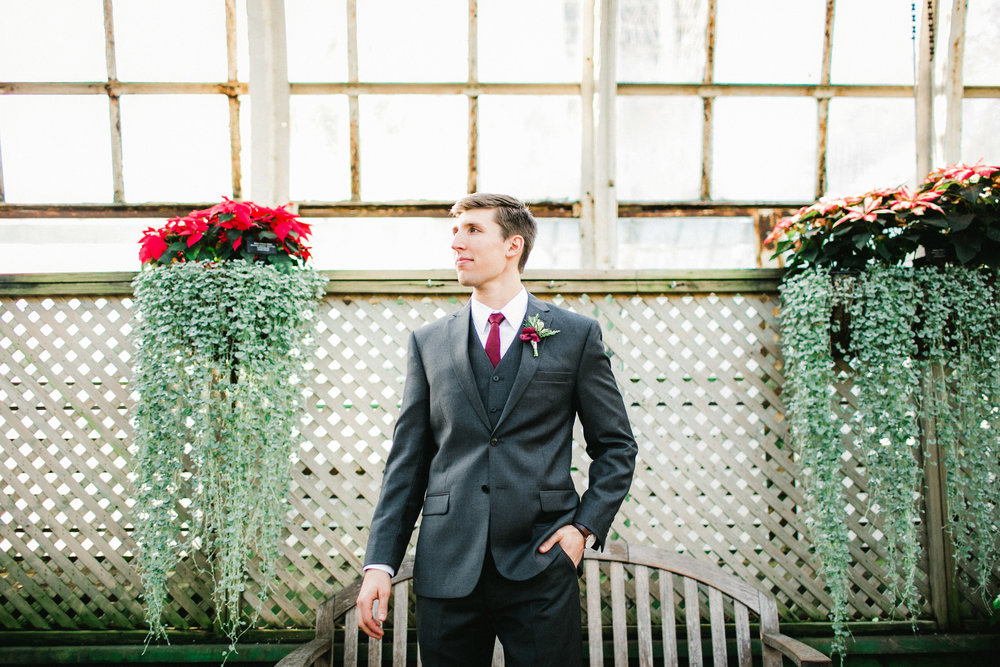 Groom Wedding Portraits in a Conservatory