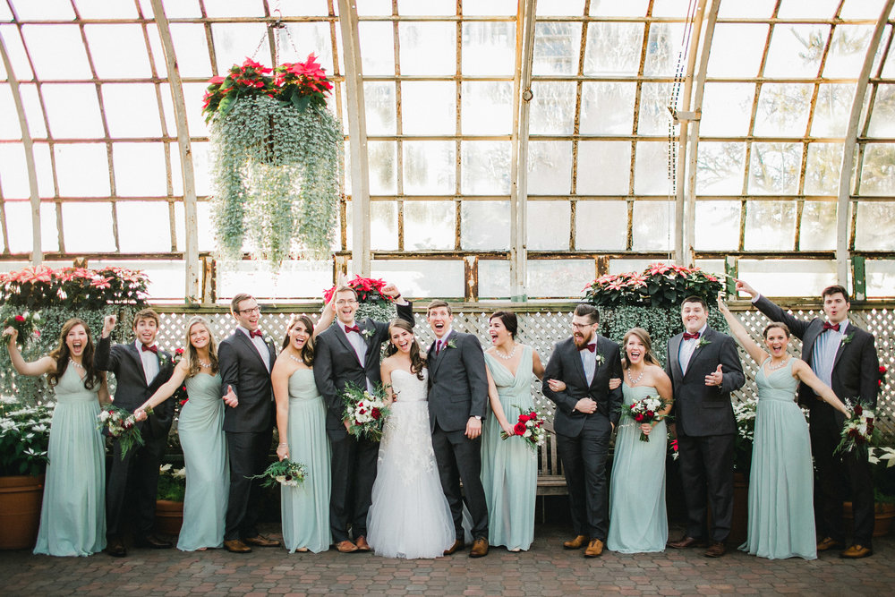 Wedding Portraits in a Conservatory Bridal Party