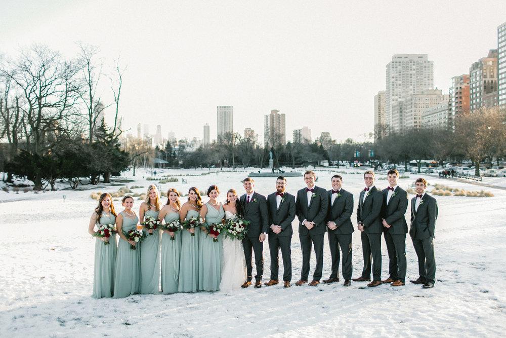 Winter Snowy Wedding bridal party