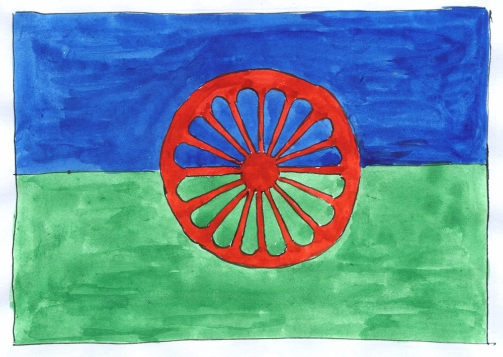 Hand-drawn Romani flag from http://www.patrin.org.uk/