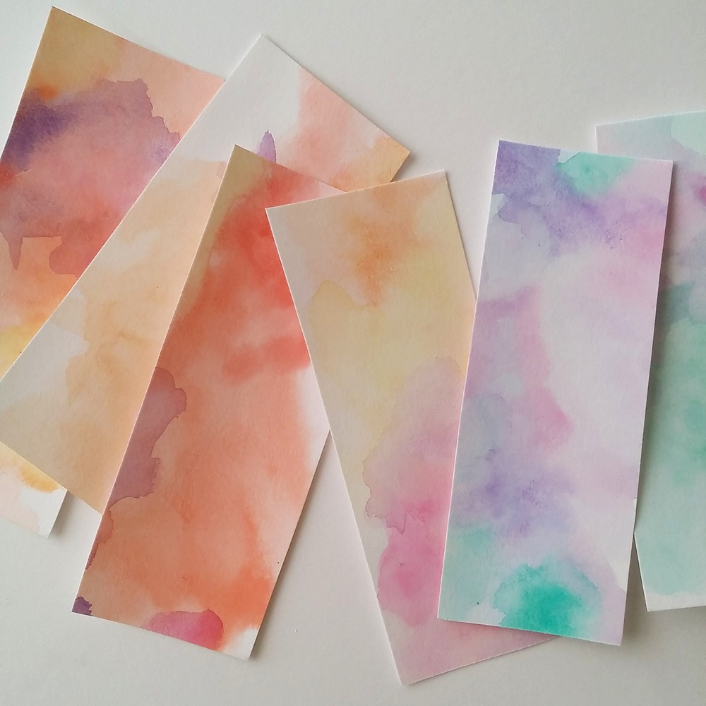 Watercolor paper ready to be labeled with names of essences...