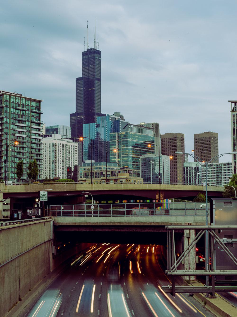 Chicago, traffic blur