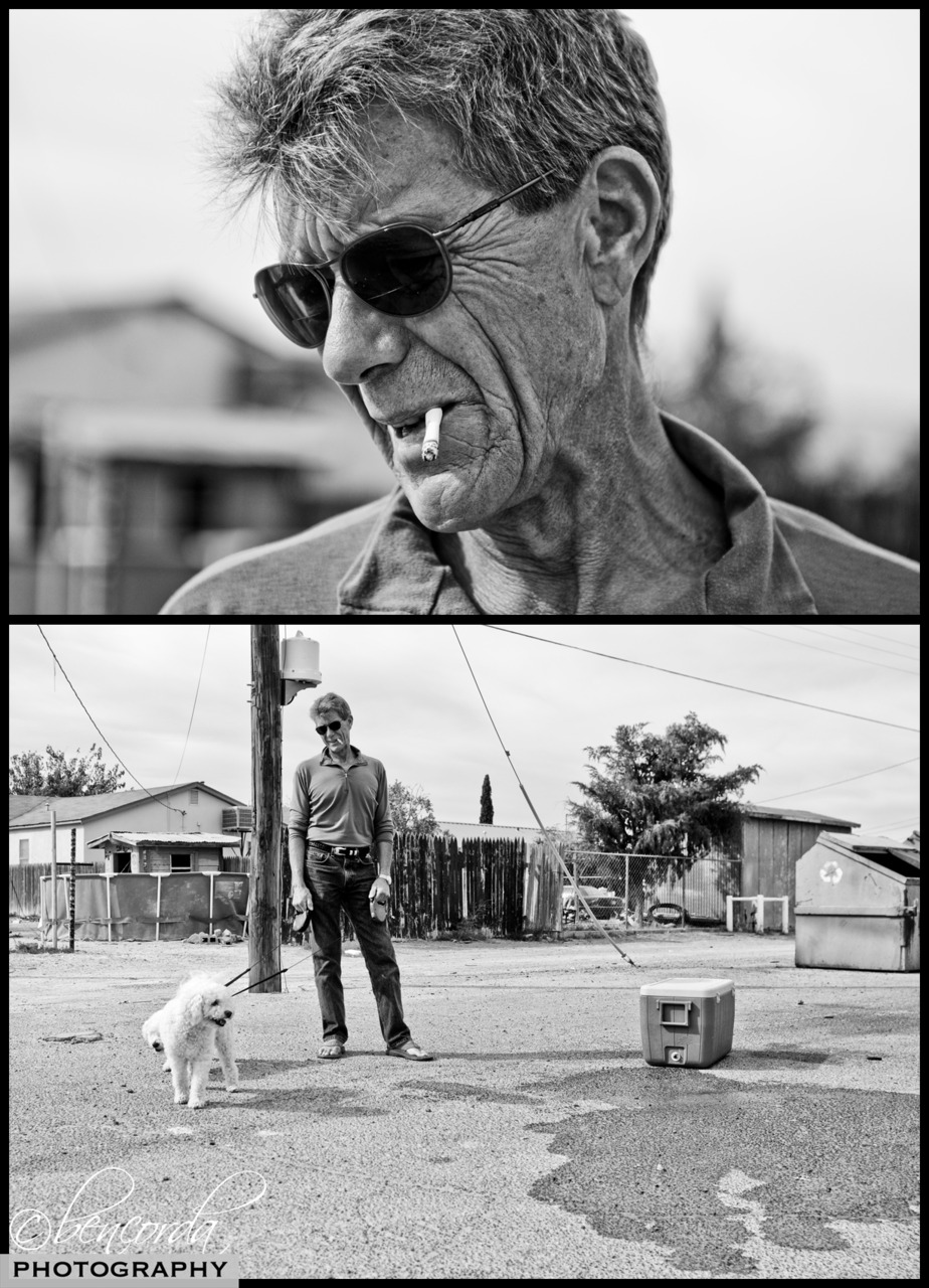 """Courage/Breathe/Relax:   I approached this man at a gas station in Pecos, TX (home of the first rodeo). We were stopping to fill up for the last time before we entered a """"gas station free zone."""" A New Mexico native, Chris was traveling back home from wind surfing. I hope that I still do things like that at his age…"""