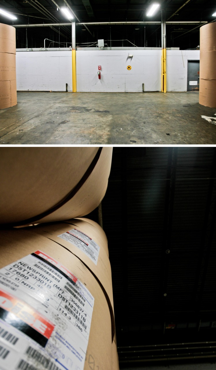 A Loss:    This room will be empty soon. I walk though this area everyday. It usually is filled with giant rolls of paper, the beeping of forklifts and a the occasional laugh.   The press here will be silent. As of August 1st The News-Star will be printed in Shreveport. These last few stacks of paper disapear everyday as a reminder.