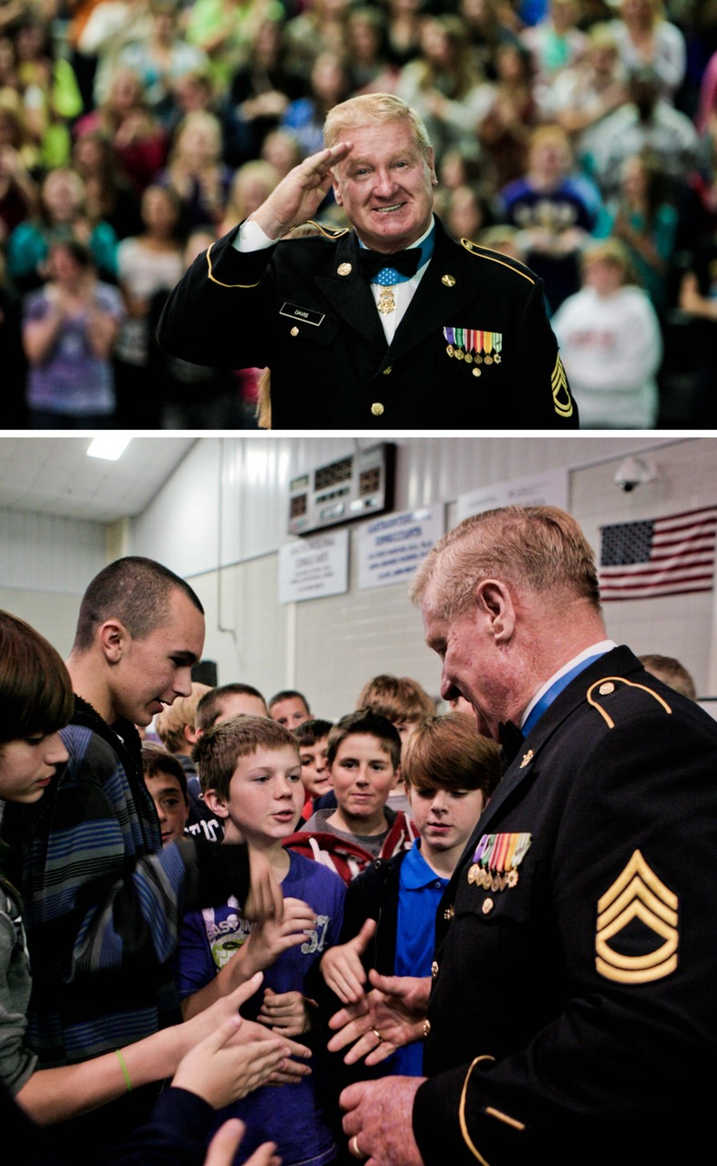 Medal of Honor recipient Sammy Davis spoke to West Ridge Middle School about patriotism as Veteran's Day is approaching fast. It was great to hear such a courageous person speak. I lucked out with him turning around (as I was behind him) and caught him saluting the other side of the room.    Read the full story by Amritha Alladi on the News-Star  here.