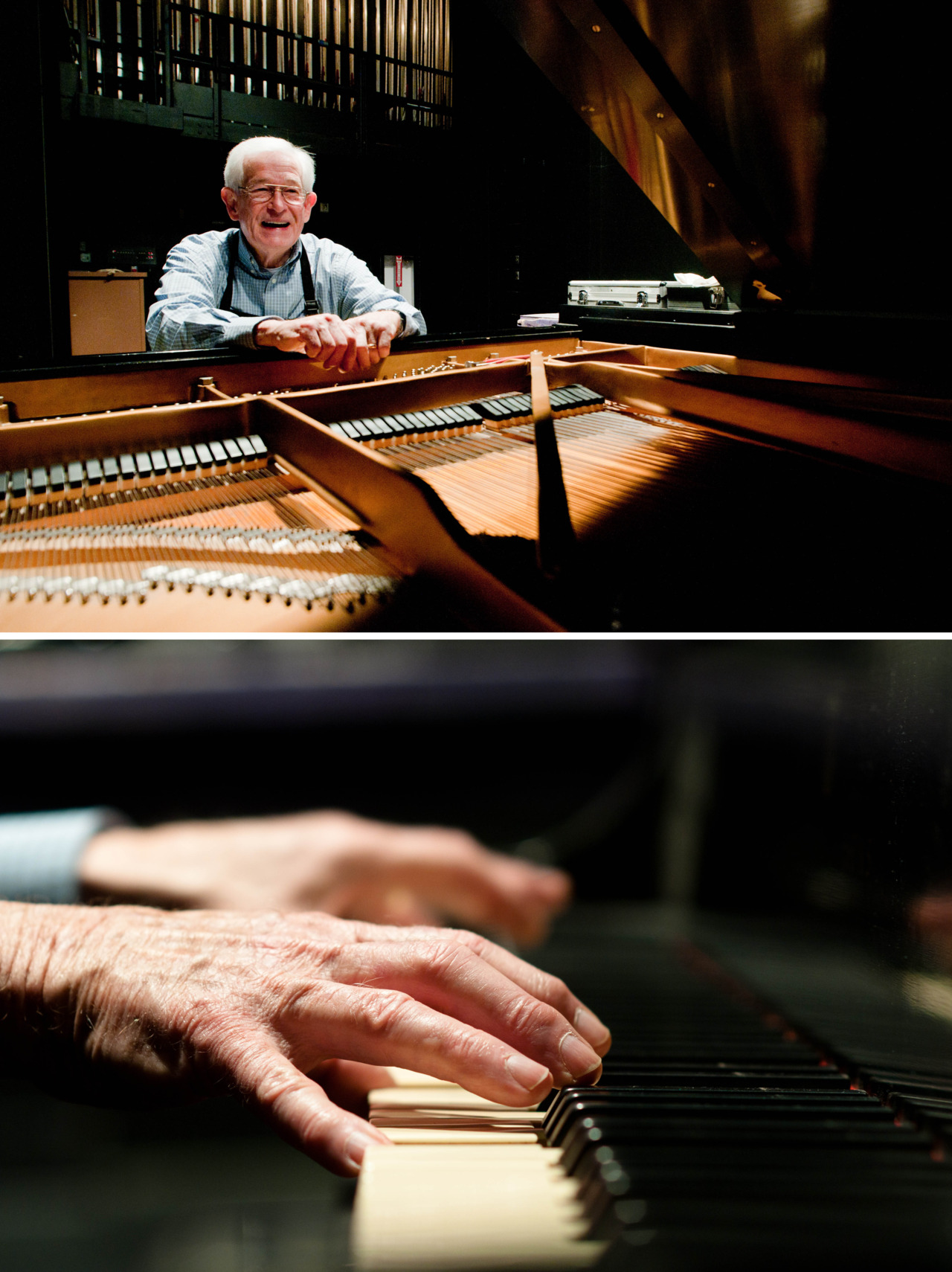 Howard Jackson tunes the Steinway grand piano at ULM's Brown Auditorum. Jackson has been a piano repairman for forty years.