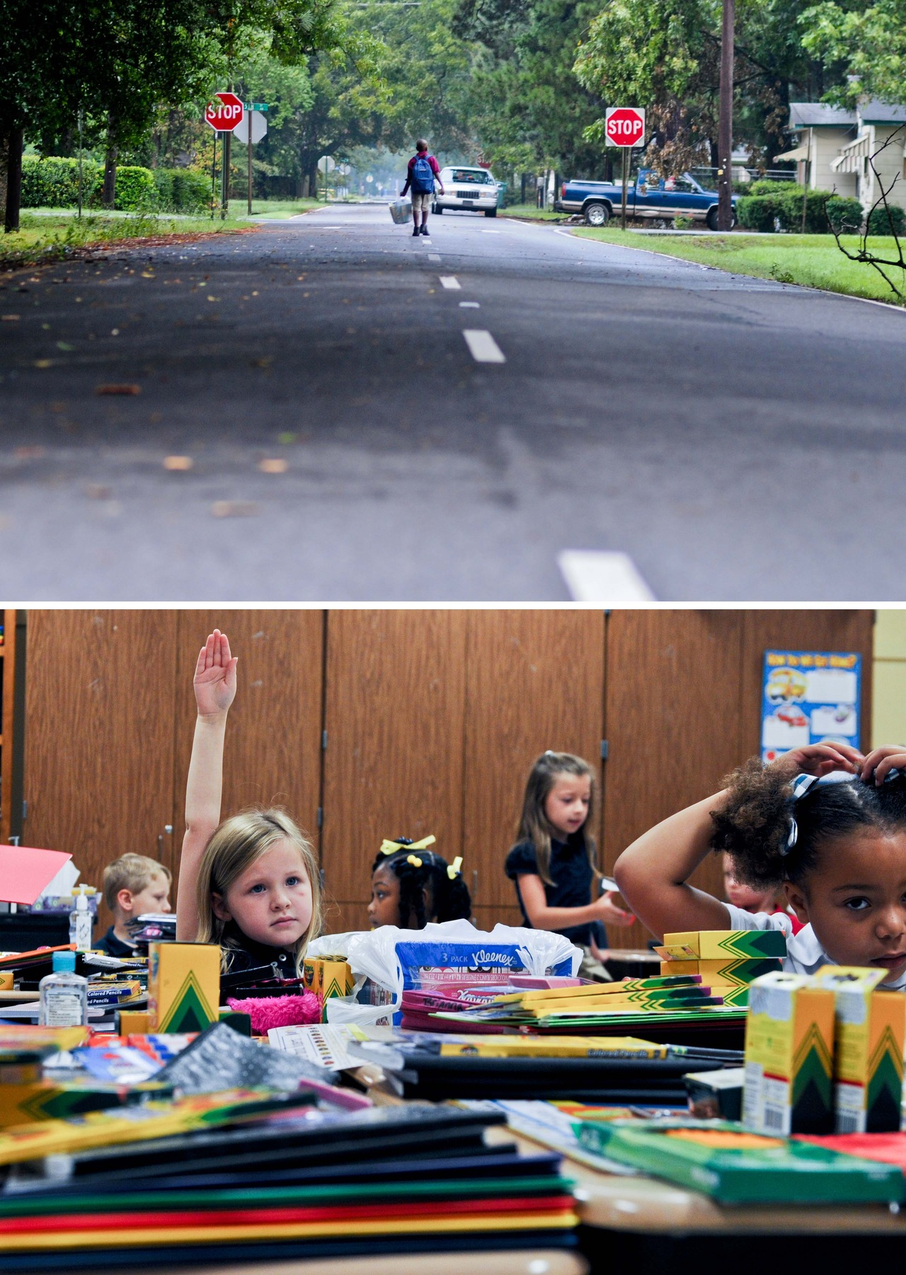First Day of School:     Top:     Ernest Campbell walks to his first day of school at Clara Hall Elementary School carrying a backpack and a plastic bag full of school supplies.     Bottom:    Payge Hill raises her hand to volunteer to be a helper in Cassandra Douglas' first grade classroom.