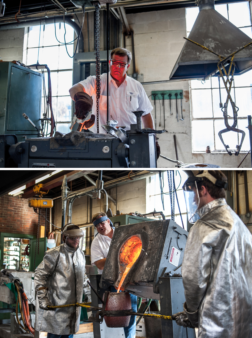The Foundry:   Walking around the TTU campus, I stumbled on a metals class. They happened to be pouring aluminum that day!
