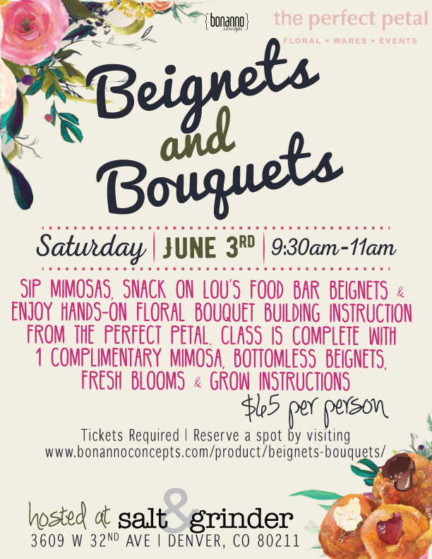 Treats and secret surprises at the Perfect Petal (across the street) to follow. Learn more and reserve your spot by online by visiting: https://www.bonannoconcepts.com/product/beignets-bouquets/