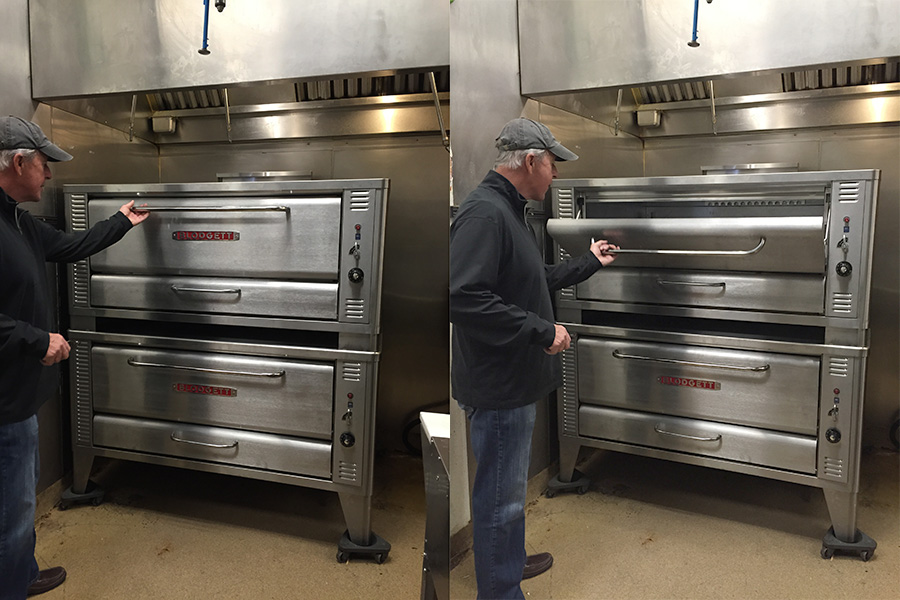 Tom inspecting his LARGE Blodgett Pizza Deck Oven