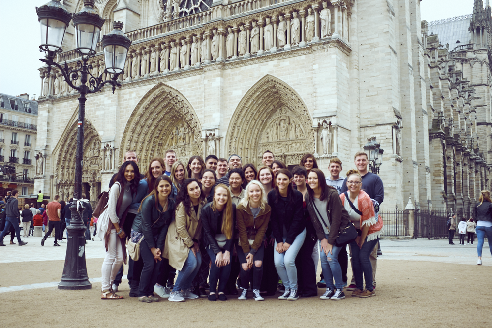 My tour group outside the Cathedral of Notre Dame.