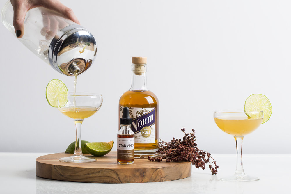 Cocktail No. 2 : Van Brunt Stillhouse Due North Rum, Star Anise extract, simple syrup, and fresh lime juice. Served in a coupe or martini glass, garnished with a lime wheel.