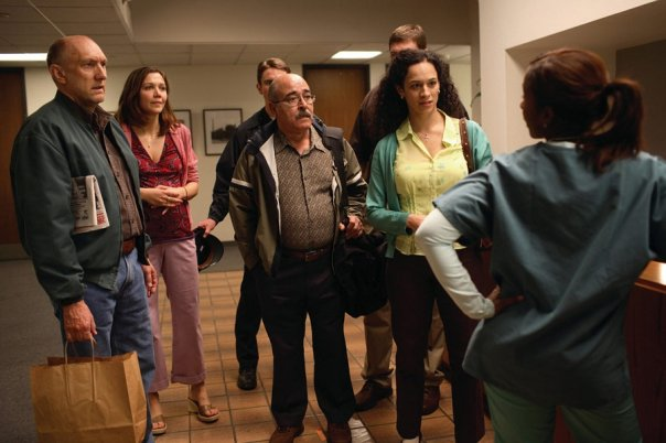 "With Maggie Gyllenhaal, Peter McRobbie and Dara Coleman in ""World Trade Center""."