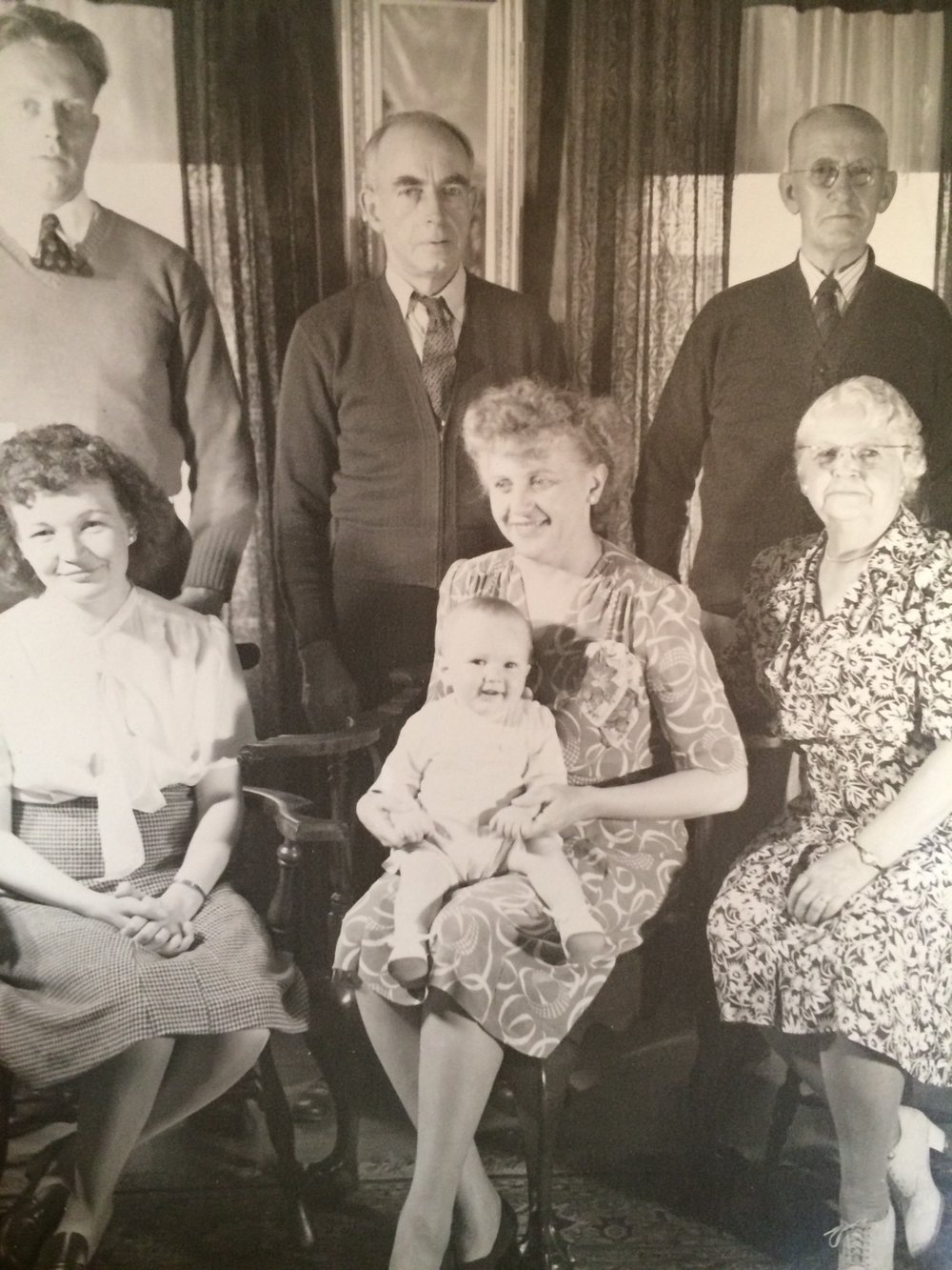 Top Left to Right: Grandpa, Great Grandpa, (one of) Great Great Grandpa  Bottom Left to Right: Grandma, Great Grandma, Meme and the baby is my father