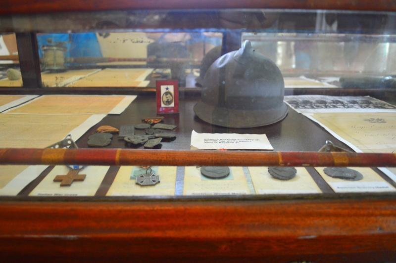 Hemingway's helmet and war medals.