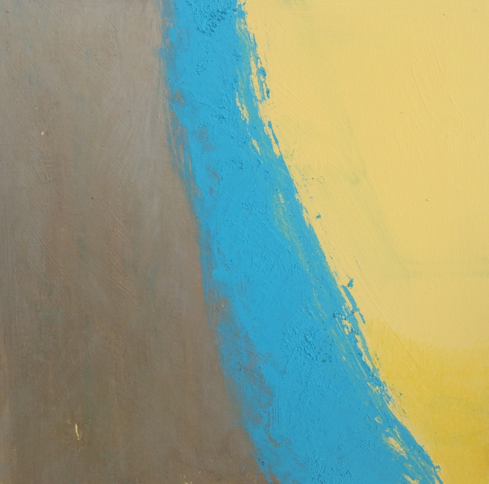 work in progress - gold, blue, yellow