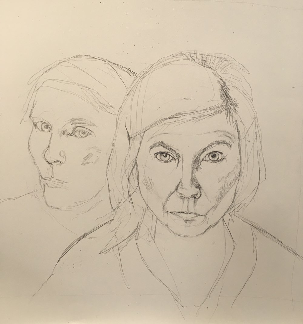 This drawing is a double self portrait. in the background a drawing from a photograph i took in  a mirror - not long after I came out of hospital. in the foreground a portrait from life 8 months later.    The woman in the photo looked raw, thin faced, with a fearful look in her right eye. I wanted to document any changes since then. This idea will probably form the basis of a painting.