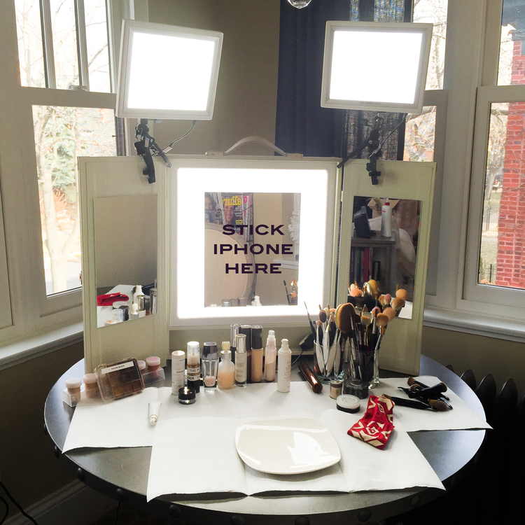 Using commando tape, just stick it to the mirror on the Makeup LIght Vanity  and - HOW TO SET UP A HOME MAKEUP STUDIO — GLOSSIBLE