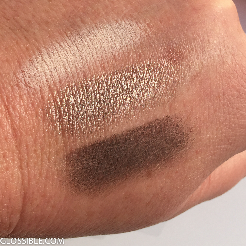 Notice how the middle color shows more lines in my hand than the matte shades. So if you do want to use, use less and kiss the eye. Use under brows where texture issues are less of a problem than the eyelid or crease area.