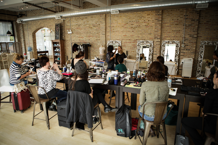 Educator And Working Makeup Artist Margina Dennis Teaching At Our Studio In Chicago Is