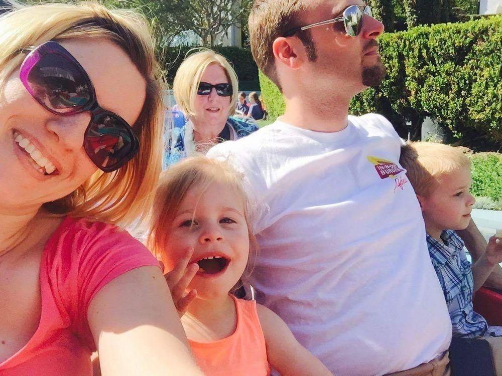 Jackie van Riet having fun with her family