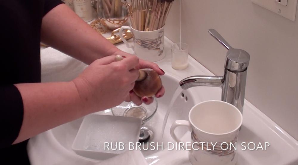 3. Rub wet brush directly on brush soap.