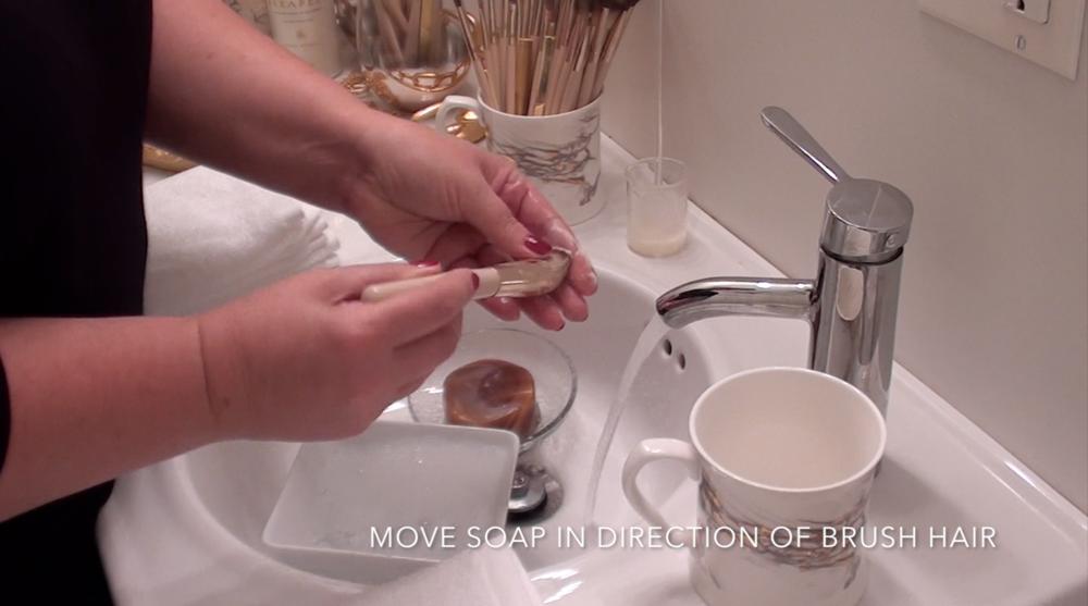 4. Move soap in the direction of brush hair.