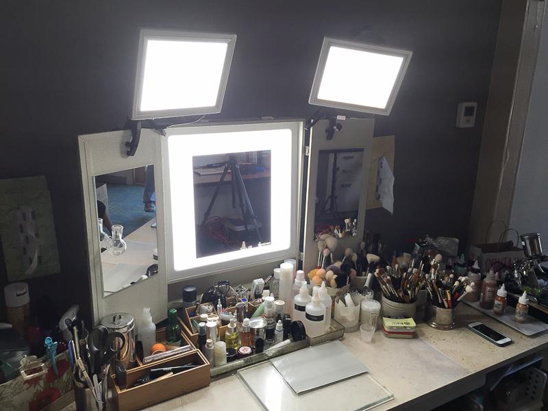 Artist work stations using The Makeup Light