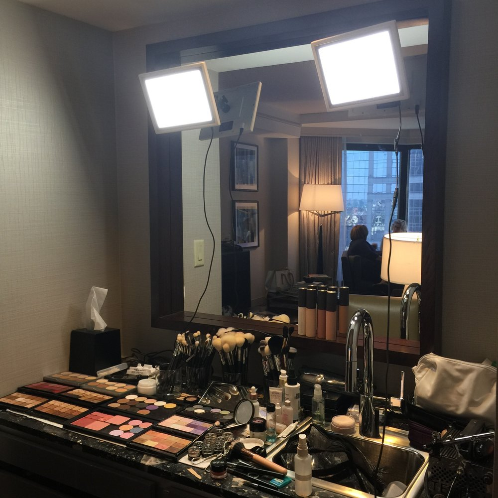 One of our set ups on location using The Makeup Light