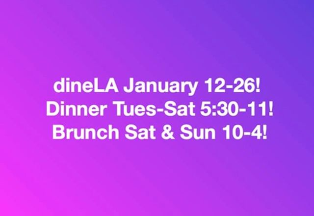 DINE LA STARTS FRIDAY! Come try our new dishes! 🥘🍔🍸dinner and brunch menus on our stories!