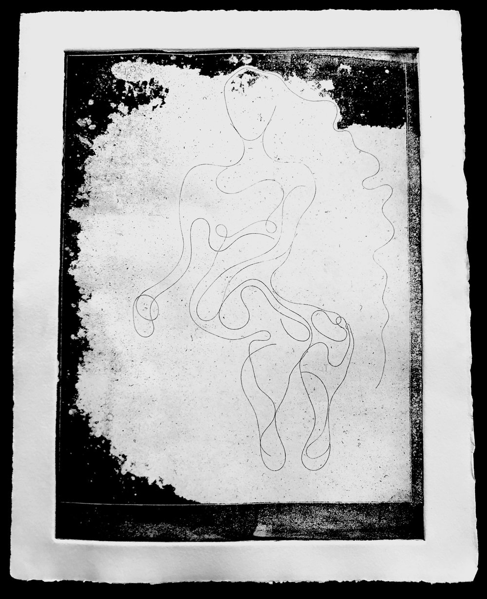 Stretching Myself, Ink intaglio print on cotton rag paper made from soft-ground impression of my hair on acetate and chance procedures, 14 x 11, 2019